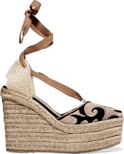 Woman Dali Embroidered Suede Espadrille Wedge Sandals Beige Size 41