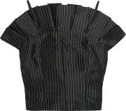 Woman Cielo Pleated Pinstriped Silk Top Black Size 8