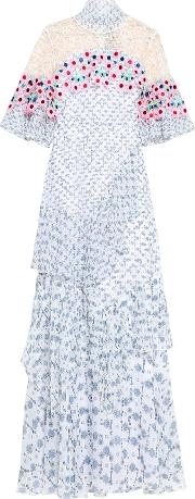 Woman Lace Paneled Floral Print Silk Georgette Gown White