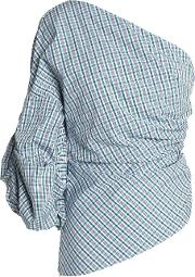 one shoulder ruched checked cotton poplin top