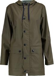 Woman Shell Hooded Coat Army Green Size S