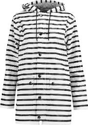 Woman Striped Coated Shell Hooded Coat White Size L