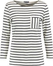 Woman Striped Cotton Jersey Top Ivory