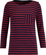 Woman Striped Cotton Jersey Top Midnight Blue