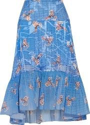 Woman Harris Paneled Printed Fil Coupe Skirt Blue Size S
