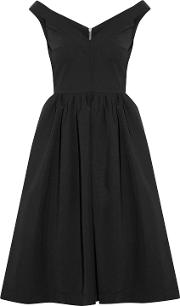 Woman Ted Off The Shoulder Stretch Crepe Dress Black