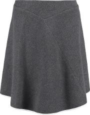 Woman Asymmetric Silk Trimmed Cashmere Felt Skirt Anthracite Size 10
