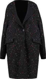 Woman Reversible Wool Blend Felt Coat Black