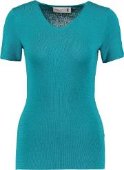Woman Wool, Silk And Cashmere Blend Top Teal Size M
