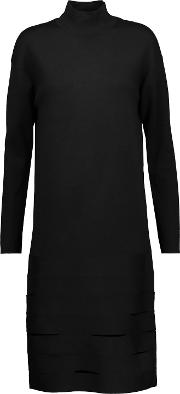 Woman Cutout Paneled Merino Wool Blend Turtleneck Dress Black