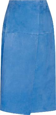 Woman Wrap Effect Suede Skirt Bright Blue