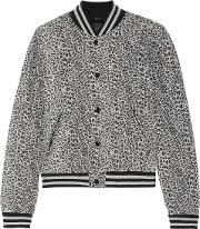 Quilted Leopard Print Silk Bomber Jacket