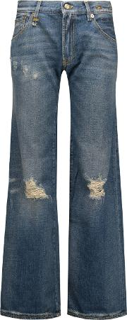 Woman The Jane Mid Rise Distressed Flared Jeans Mid Denim