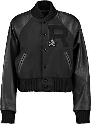 Woman Wool Blend Paneled Appliqued Textured Leather Jacket Black Size L