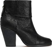 brushed leather ankle boots