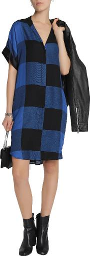 Woman Cooper Satin Trimmed Checked Flannel Mini Dress Blue
