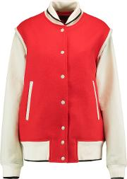 Woman Edith Wool Blend Twill And Leather Bomber Jacket Red