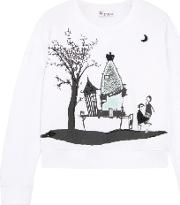 Embellished Printed Cotton Sweatshirt