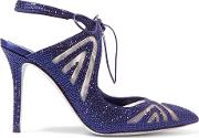 Rene' Caovilla Woman Crystal Embellished Satin And Mesh Point Toe Pumps Navy Size 36