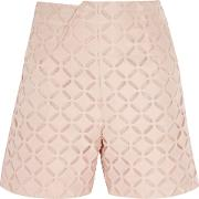 Woman Kelston Broderie Anglaise Cotton And Silk Blend Shorts Blush