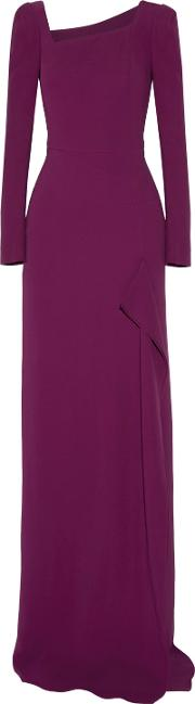 Woman Lely Stretch Crepe Gown Plum Size 8
