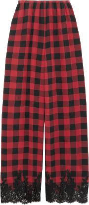 Woman Love Moon In Isle Of Skye Lace Trimmed Checked Silk Pajama Pants Claret