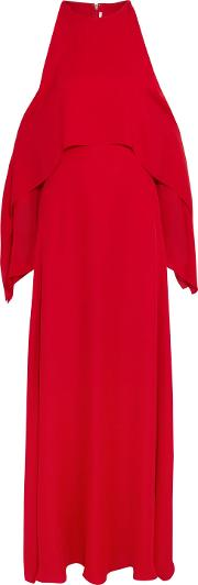 Woman Cold Shoulder Draped Silk Georgette Gown Red Size 4