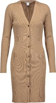 Woman Ribbed Merino Wool Cardigan Light Brown Size L
