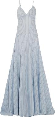 Woman Negligee Striped Cotton And Silk Blend Gown Light Blue