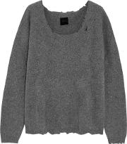 Woman Charlotte Distressed Cashmere Blend Sweater Gray Size M