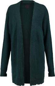 Woman Distressed Cashmere Cardigan Emerald Size L