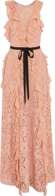 Woman Melody Grosgrain Trimmed Ruffled Corded Lace Gown Blush Size 2
