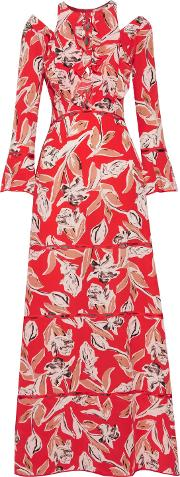 Woman Mina Cold Shoulder Ruffled Printed Silk Gown Red Size 0