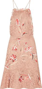 Woman Nadia Fluted Embroidered Corded Lace Dress Antique Rose