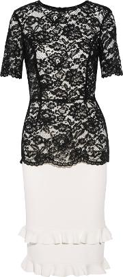 Woman Petal Guipure Lace And Ribbed Stretch Knit Dress Black Size 4