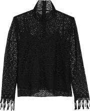 Woman Mia Embroidered Guipure Lace Blouse Black