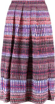 Woman Naomi Pleated Printed Cloque Midi Skirt Multicolor Size 12