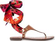 Woman Giliana Leather And Printed Satin Sandals Tan Size 6.5