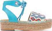 Woman Neera Bead Embellished Leather Espadrille Sandals Blue