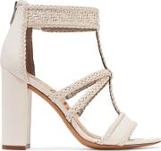 Woman Yordana Woven Leather Sandals White