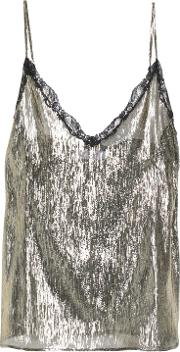 Metallic Lace Trimmed Silk Blend Lame Camisole