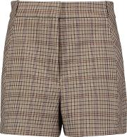 Woman Checked Twill Shorts Light Brown