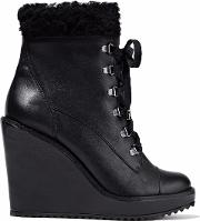 faux fur trimmed leather wedge ankle boots