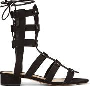 Rae Lace Up Studded Nubuck Sandals