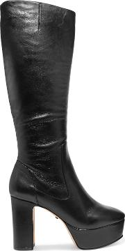 Woman Benetto Leather Platform Knee Boots Black Size 11