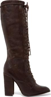 Woman Cola Lace Up Leather Knee Boots Dark Brown Size 9.5