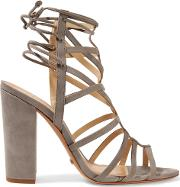 Woman Loriana Cutout Suede Wedge Sandals Gray Size 7.5