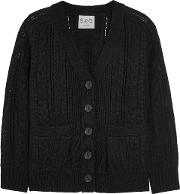 Woman Paneled Crocheted Cotton And Cable Knit Cardigan Black