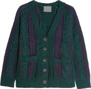 Woman Paneled Crocheted Cotton And Cable Knit Cardigan Green Size Xs