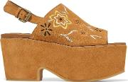 Woman Embroidered Suede Platform Sandals Tan Size 41